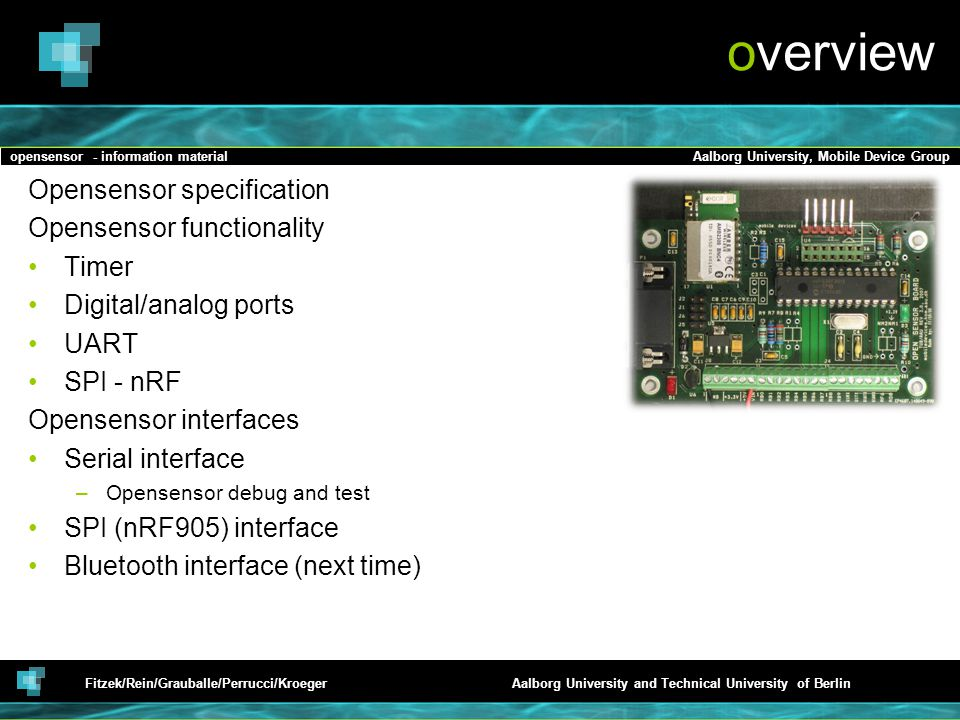 overview Opensensor specification Opensensor functionality Timer