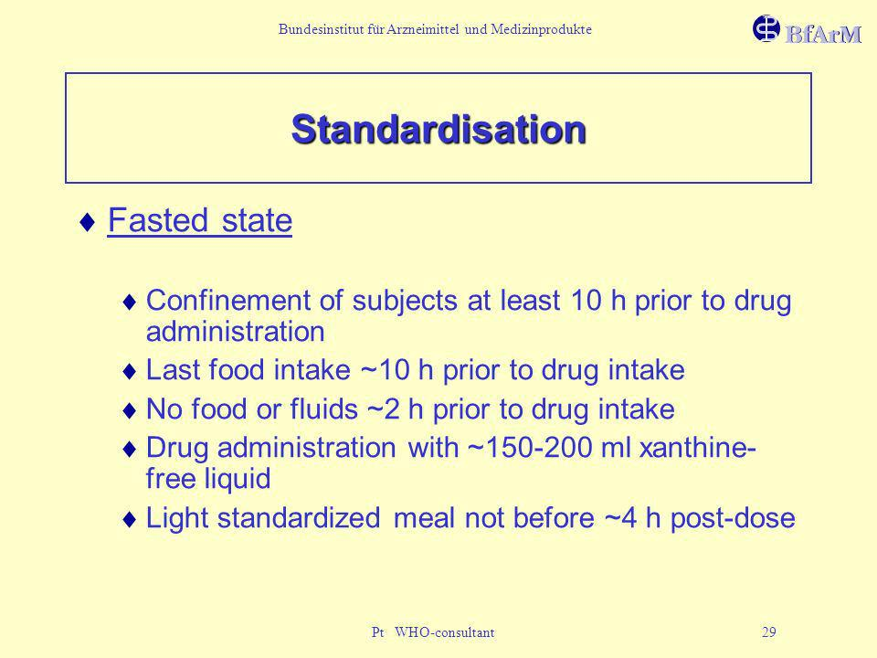 Standardisation Fasted state