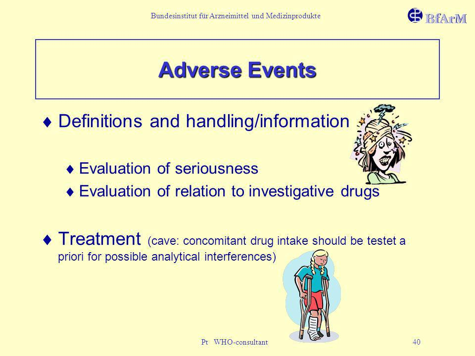 Adverse Events Definitions and handling/information