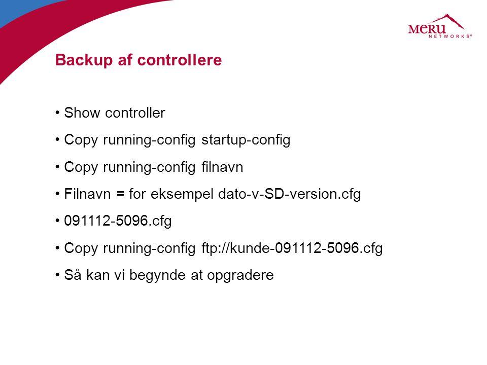 Backup af controllere Show controller