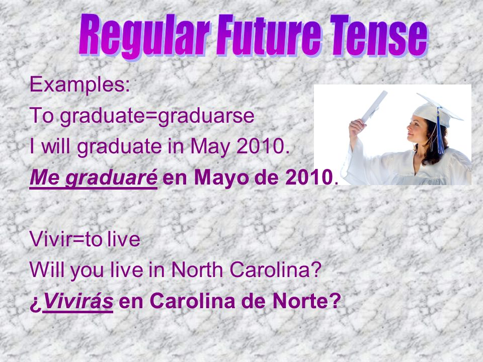 Regular Future Tense Examples: To graduate=graduarse