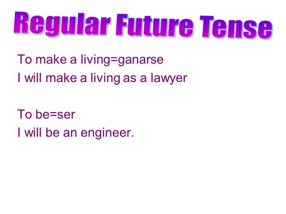 Regular Future Tense To make a living=ganarse