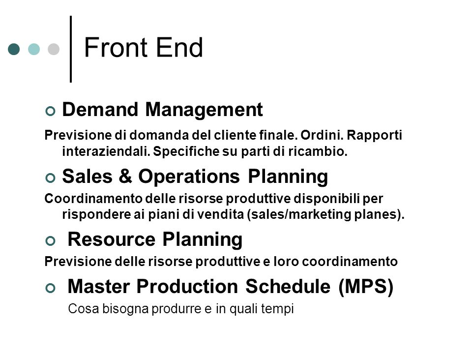 Front End Demand Management Sales & Operations Planning