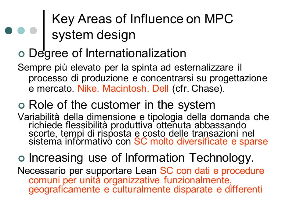 Key Areas of Influence on MPC system design