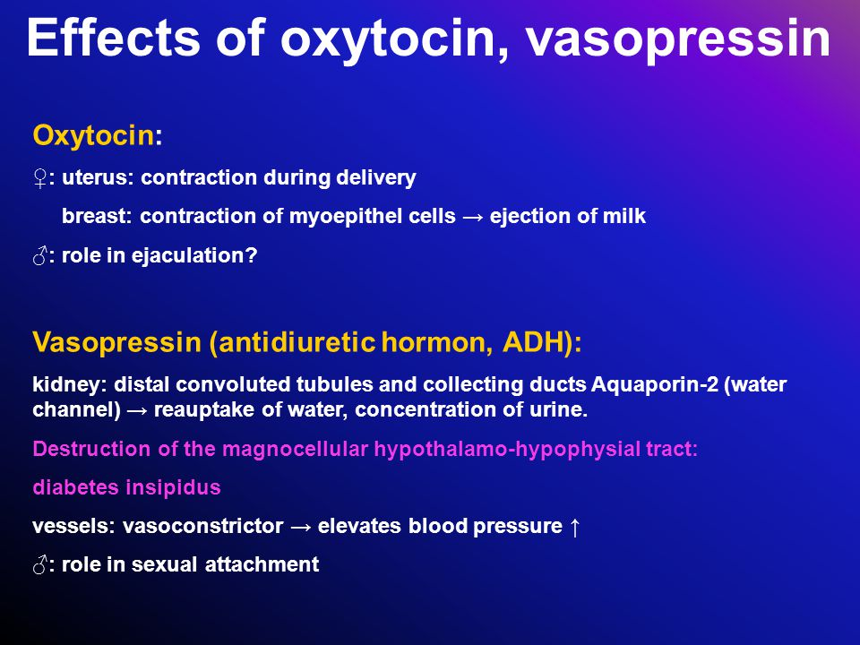 Effects of oxytocin, vasopressin