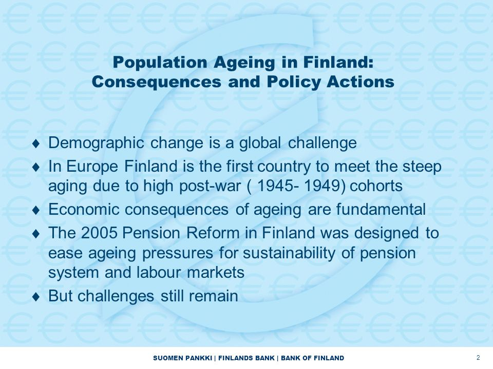 Population Ageing in Finland: Consequences and Policy Actions
