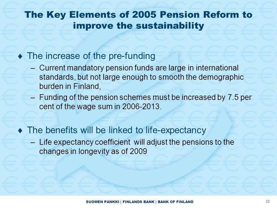 The Key Elements of 2005 Pension Reform to improve the sustainability