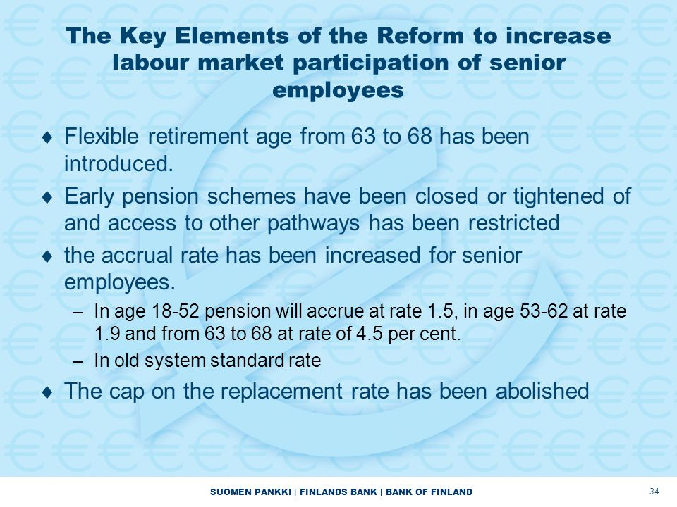 Flexible retirement age from 63 to 68 has been introduced.