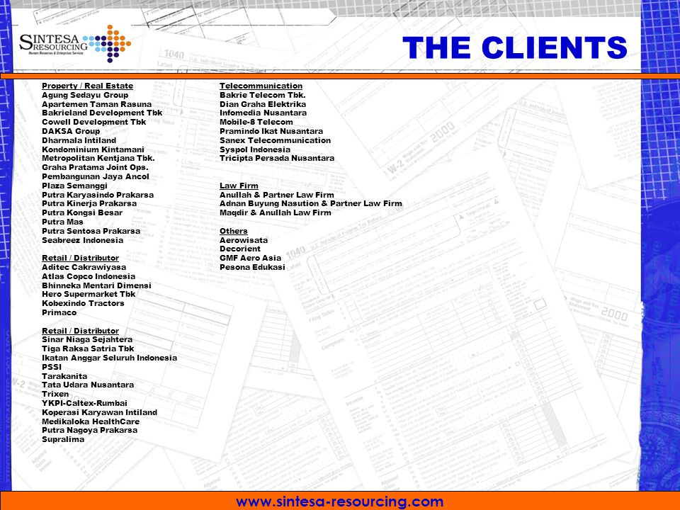 THE CLIENTS Property / Real Estate Agung Sedayu Group