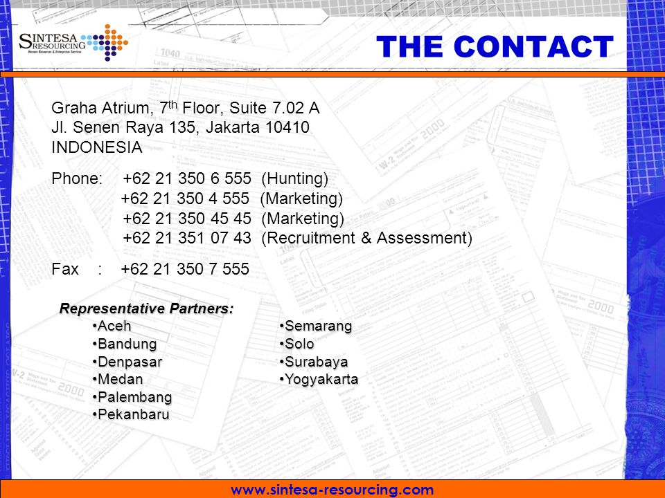 THE CONTACT Graha Atrium, 7th Floor, Suite 7.02 A