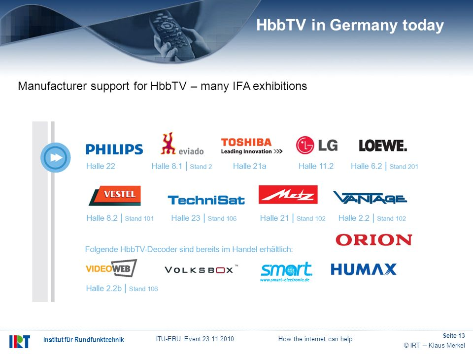 HbbTV in Germany today Manufacturer support for HbbTV – many IFA exhibitions