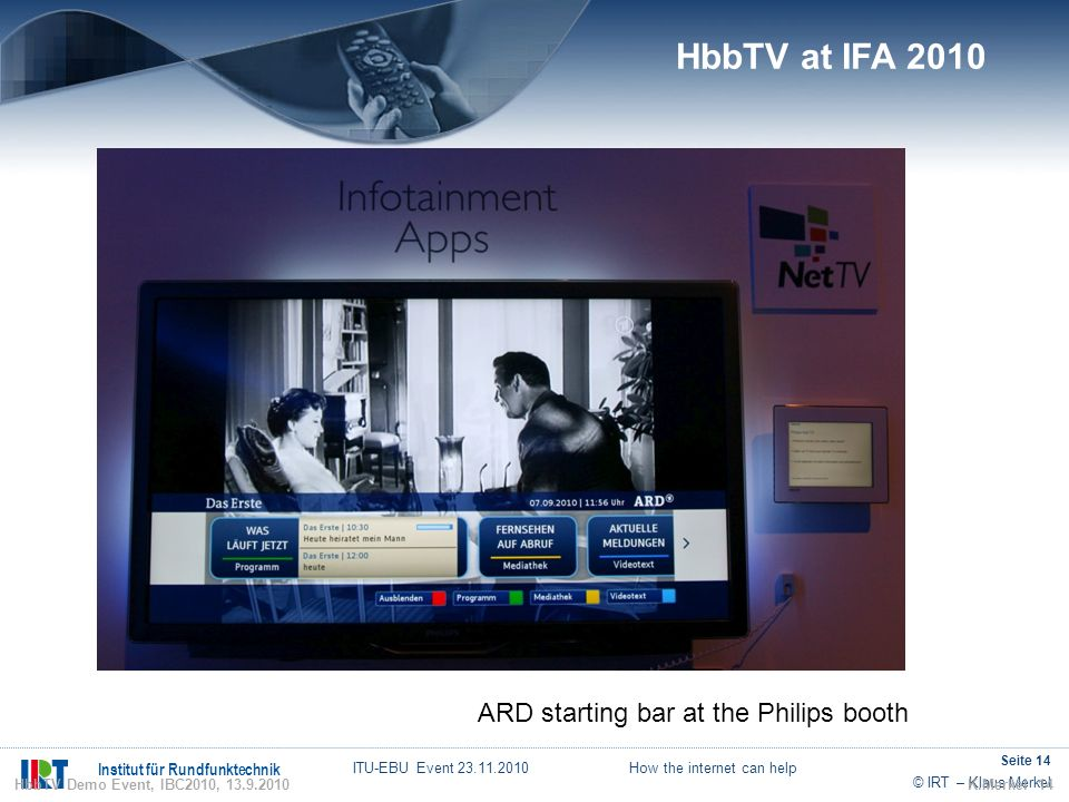 HbbTV at IFA 2010 ARD starting bar at the Philips booth 14