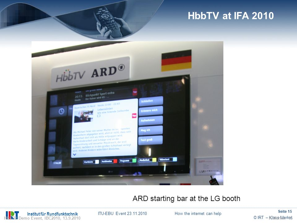HbbTV at IFA 2010 ARD starting bar at the LG booth 15