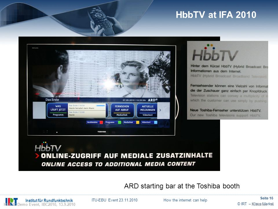 HbbTV at IFA 2010 ARD starting bar at the Toshiba booth 16