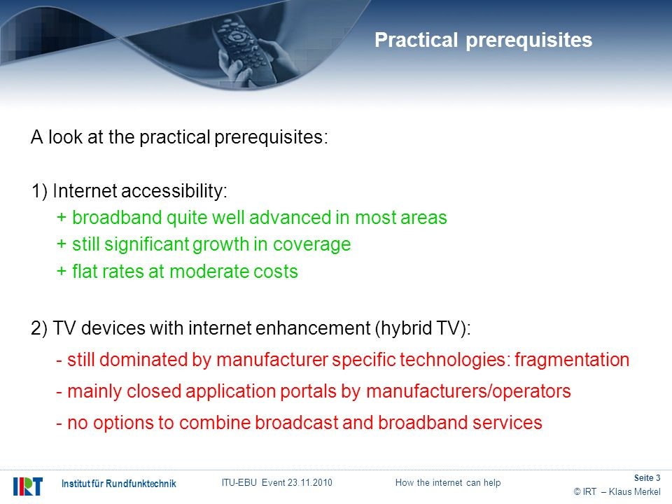 Practical prerequisites