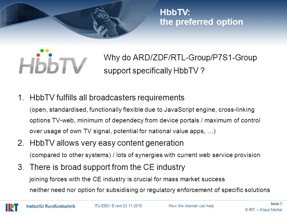 HbbTV: the preferred option