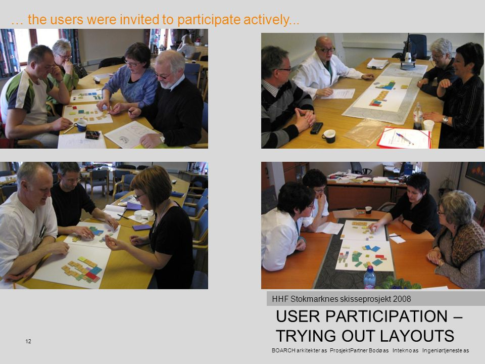 USER PARTICIPATION – TRYING OUT LAYOUTS