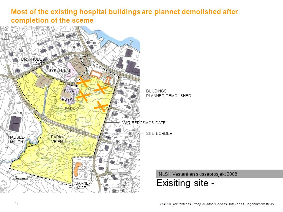 Most of the existing hospital buildings are plannet demolished after completion of the sceme