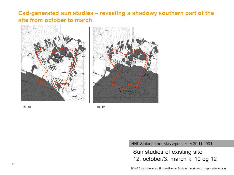 Sun studies of existing site 12. october/3. march kl 10 og 12