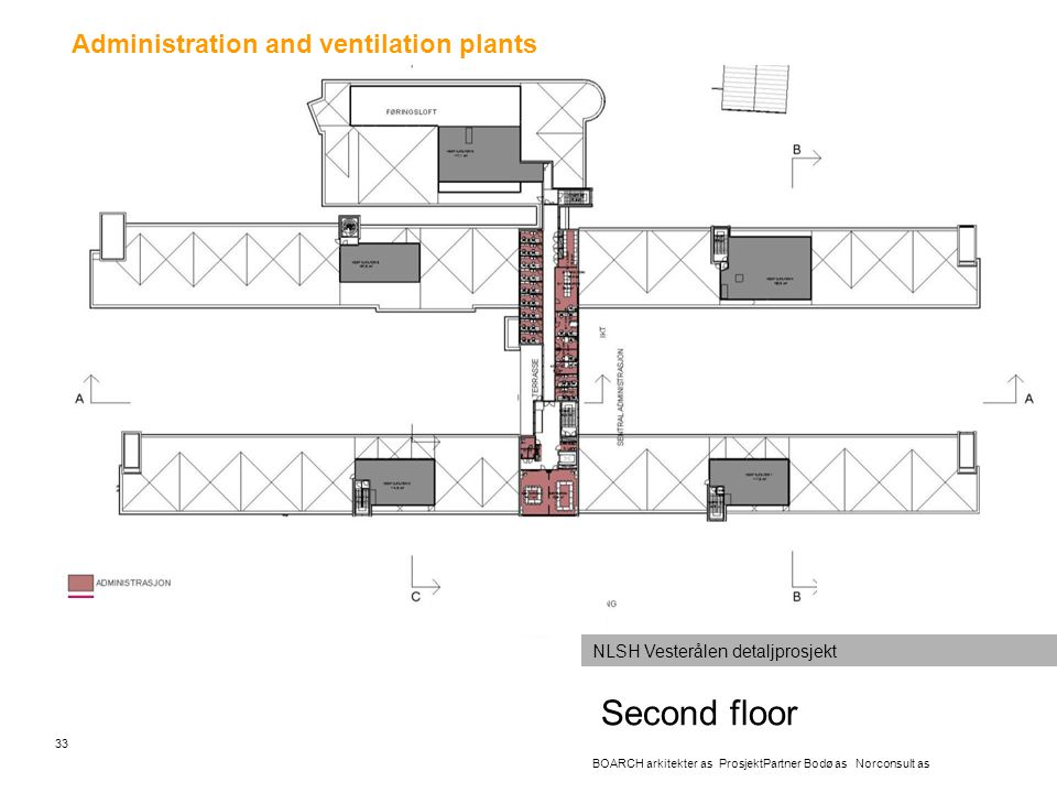 Second floor Administration and ventilation plants