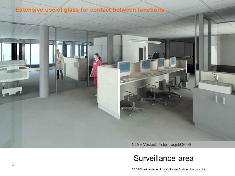 Surveillance area Extensive use of glass for contact between functions