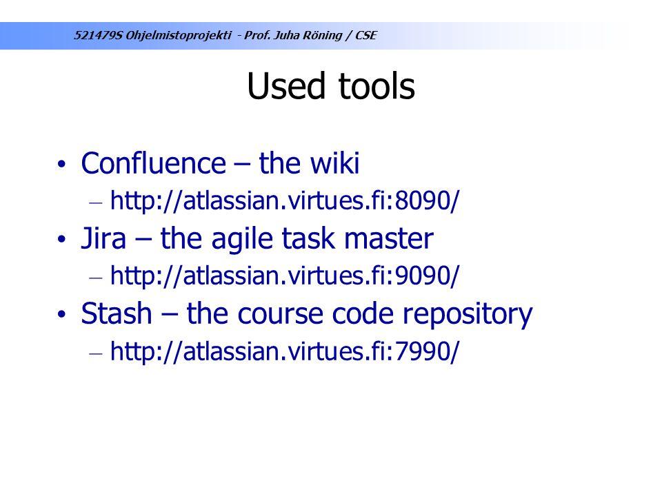 Used tools Confluence – the wiki Jira – the agile task master