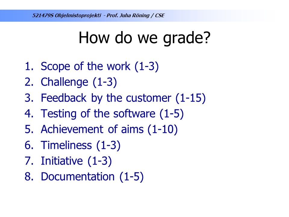 How do we grade Scope of the work (1-3) Challenge (1-3)