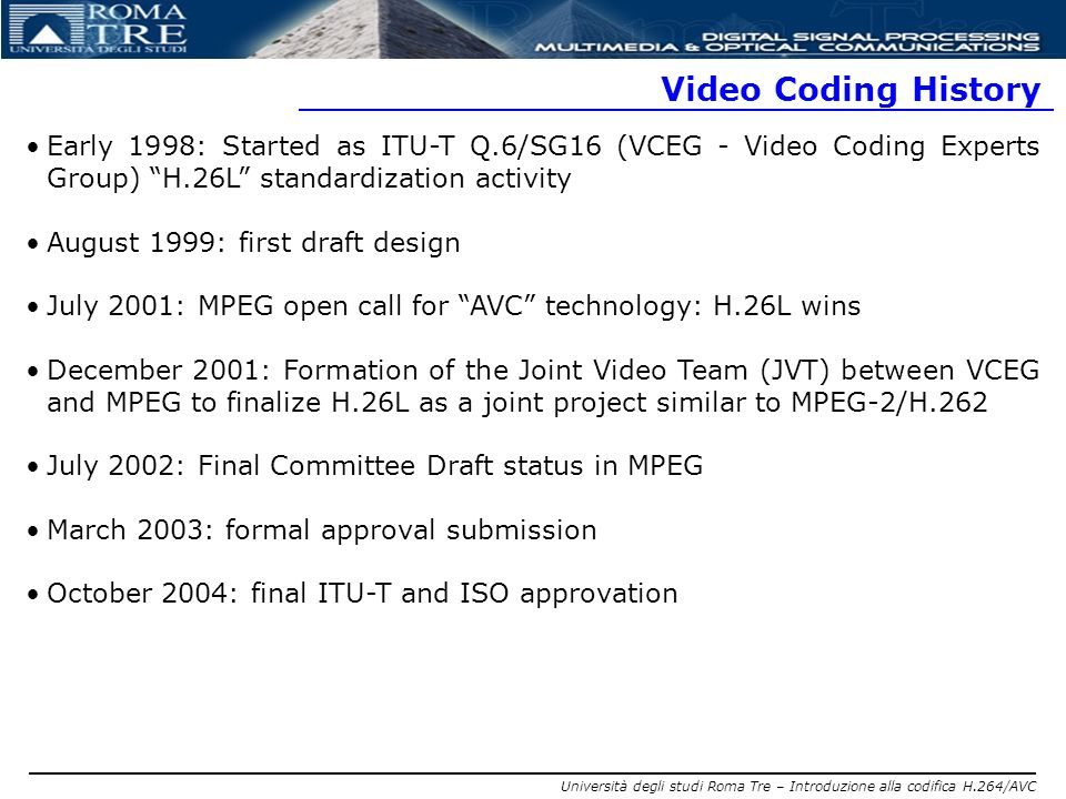 Video Coding History Early 1998: Started as ITU-T Q.6/SG16 (VCEG - Video Coding Experts Group) H.26L standardization activity.