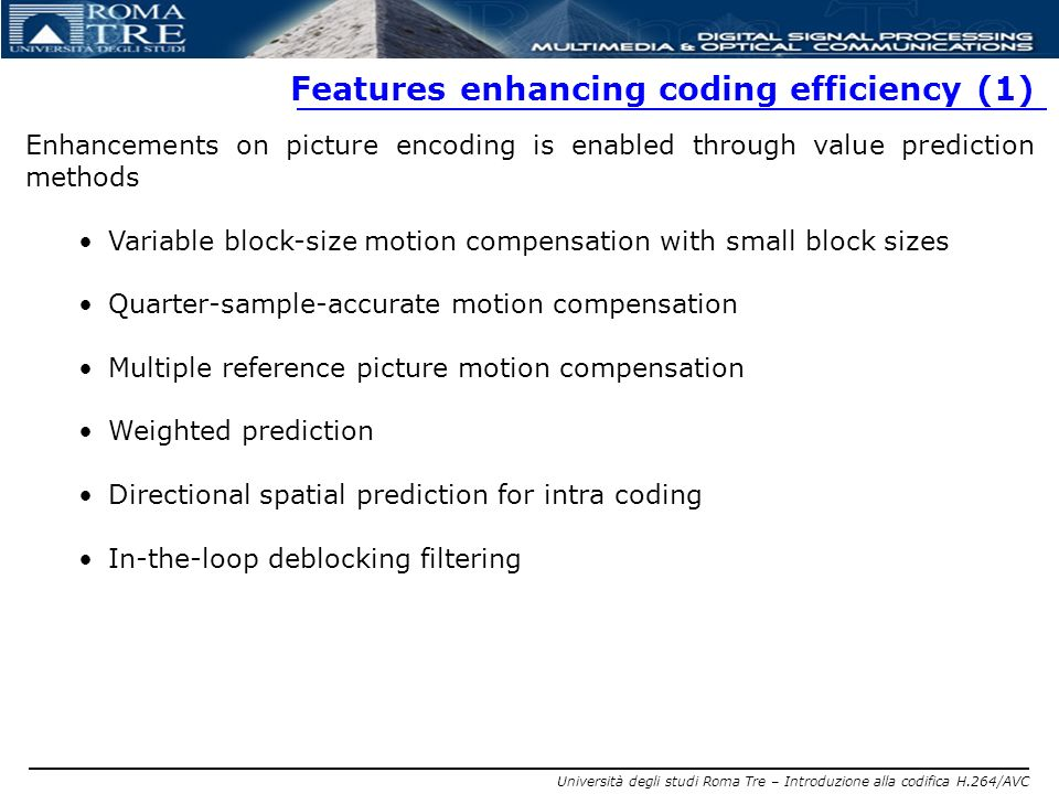 Features enhancing coding efficiency (1)