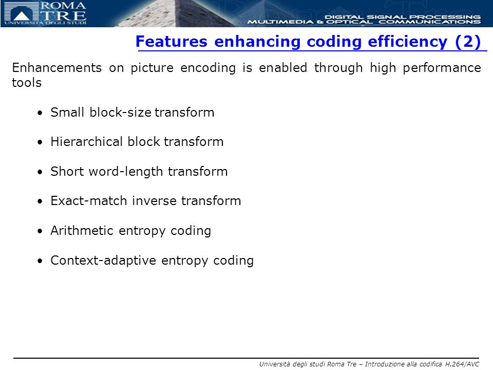 Features enhancing coding efficiency (2)