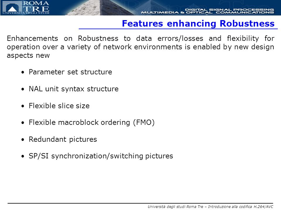 Features enhancing Robustness