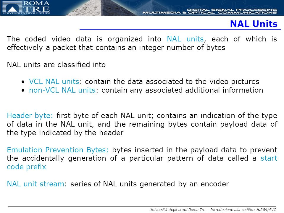 NAL Units The coded video data is organized into NAL units, each of which is effectively a packet that contains an integer number of bytes.