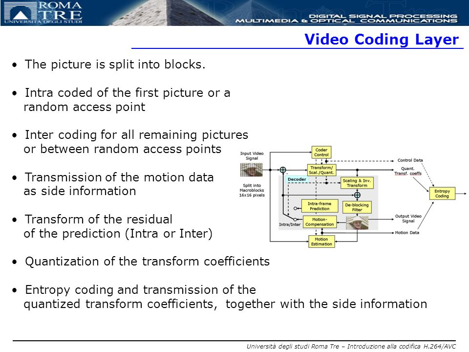 Video Coding Layer The picture is split into blocks.