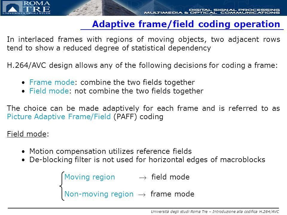 Adaptive frame/field coding operation