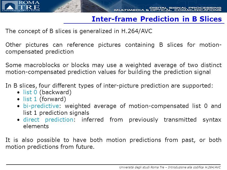 Inter-frame Prediction in B Slices