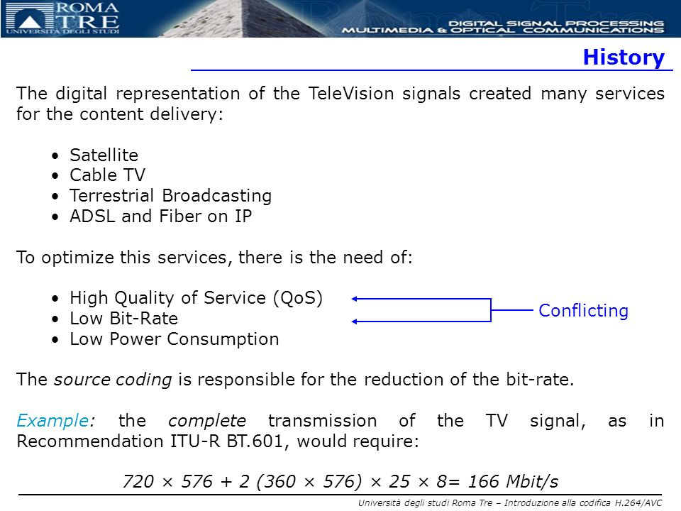 History The digital representation of the TeleVision signals created many services for the content delivery: