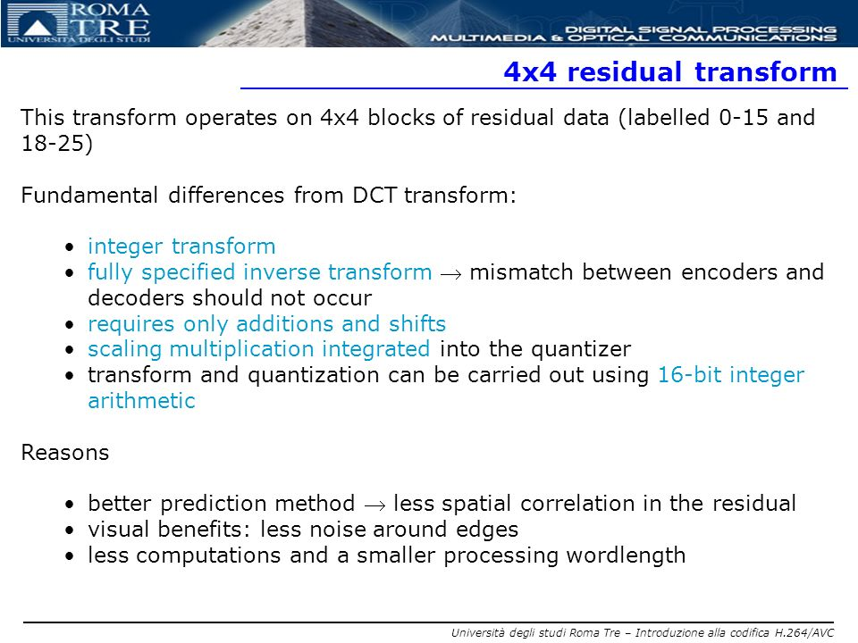 4x4 residual transform This transform operates on 4x4 blocks of residual data (labelled 0-15 and 18-25)