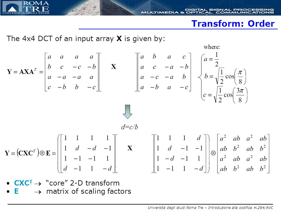 Transform: Order The 4x4 DCT of an input array X is given by: d=c/b