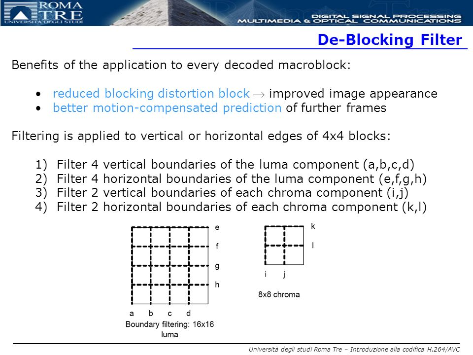 De-Blocking Filter Benefits of the application to every decoded macroblock: reduced blocking distortion block  improved image appearance.
