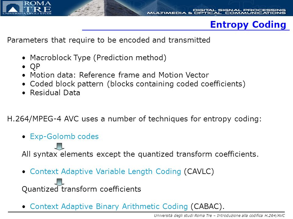 Entropy Coding Parameters that require to be encoded and transmitted