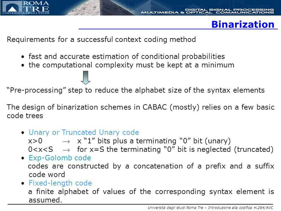 Binarization Requirements for a successful context coding method