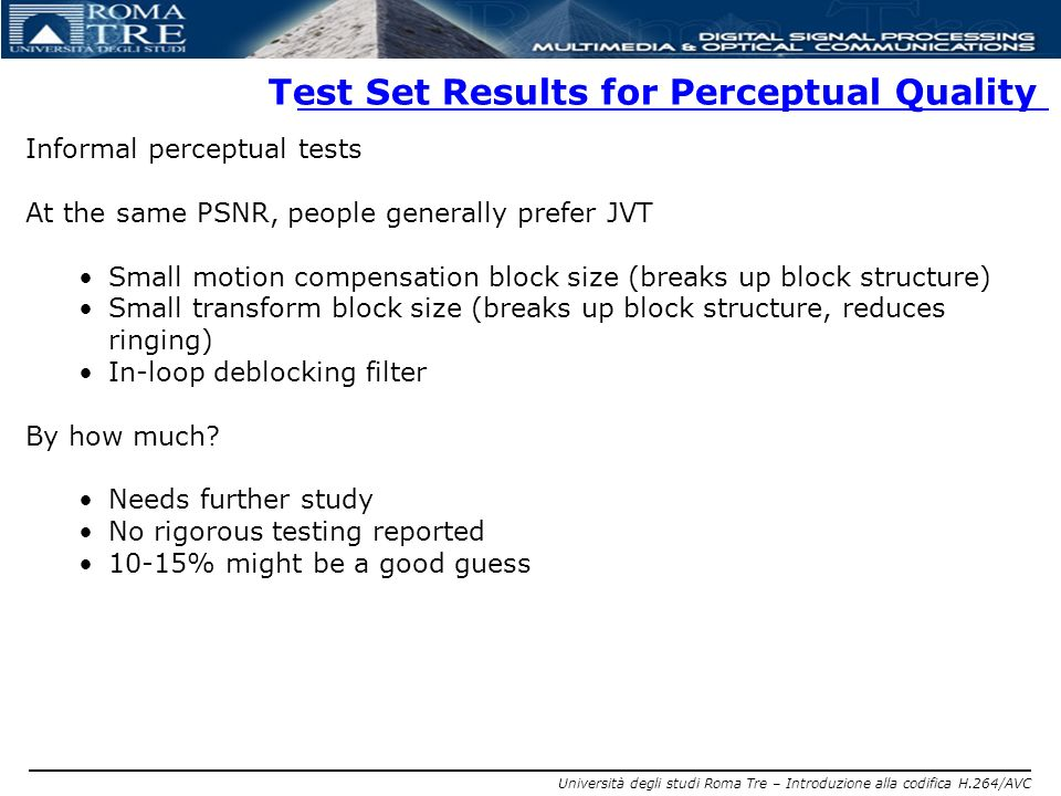 Test Set Results for Perceptual Quality