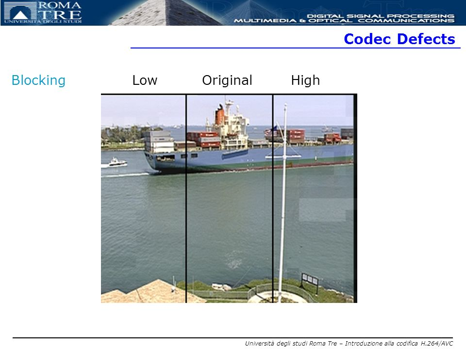 Codec Defects Blocking Low Original High