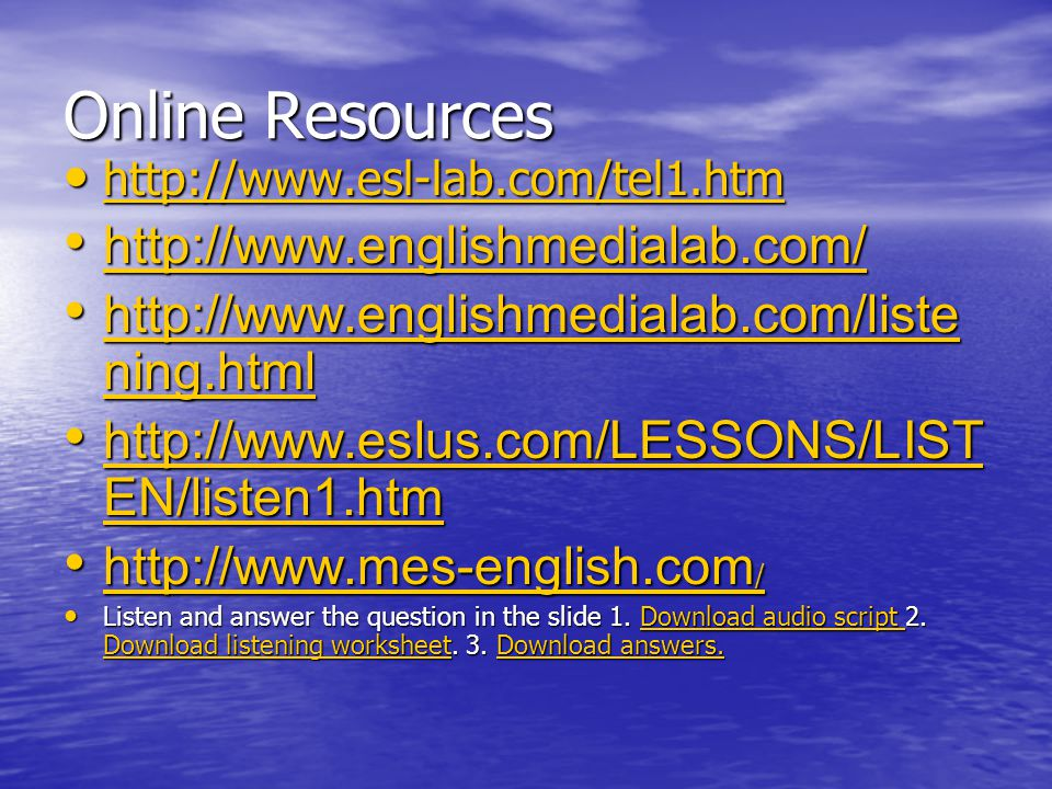 Online Resources http://www.englishmedialab.com/
