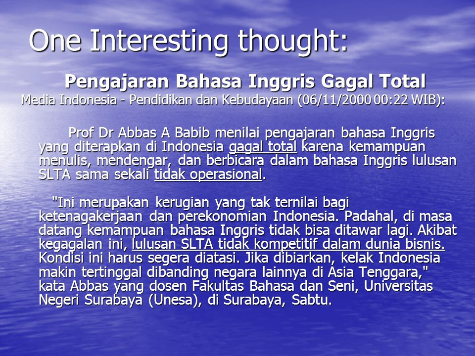 One Interesting thought: