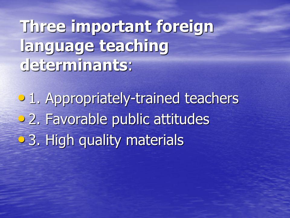 Three important foreign language teaching determinants: