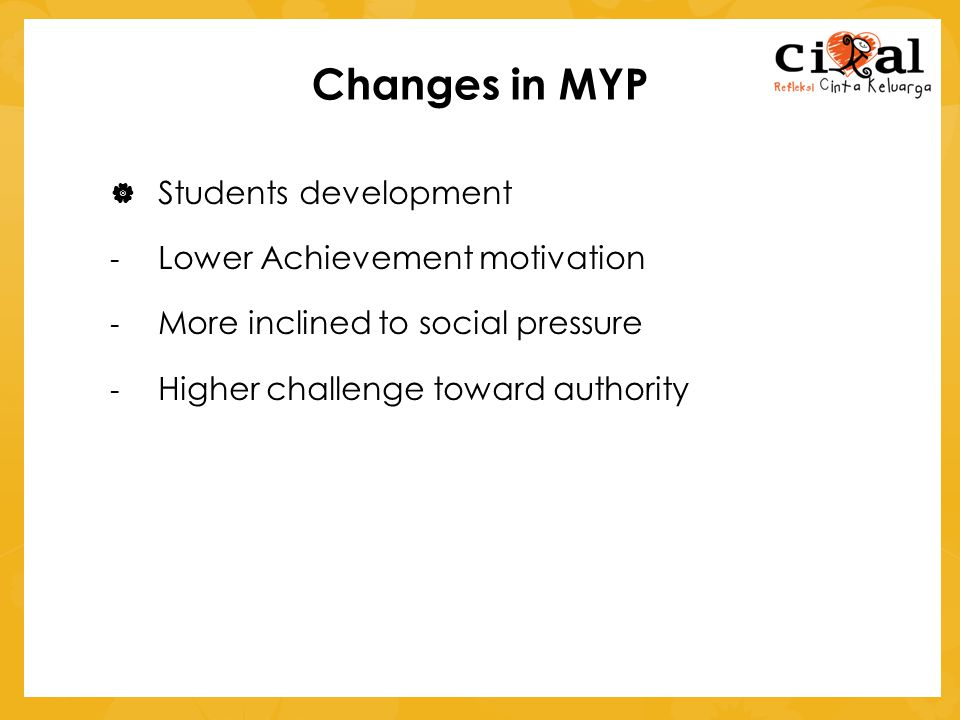 Changes in MYP Students development Lower Achievement motivation