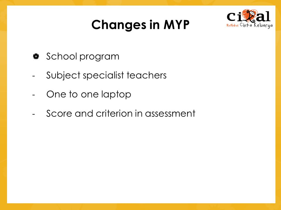 Changes in MYP School program Subject specialist teachers
