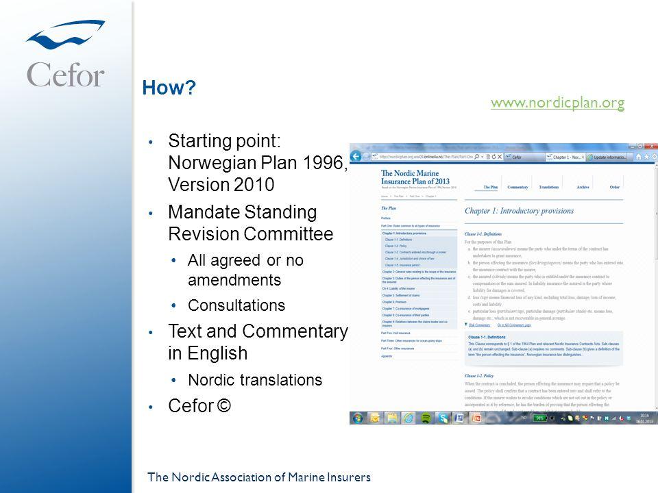 How Starting point: Norwegian Plan 1996, Version 2010