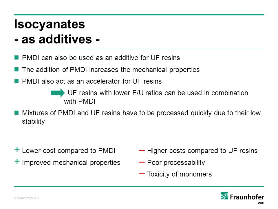 Isocyanates - as additives -